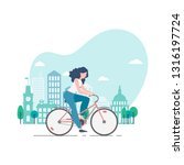 vector illustration of a young... | Shutterstock .eps vector #1316197724