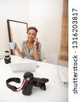 beautiful student talking on... | Shutterstock . vector #1316203817