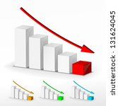 3d business decline graph set | Shutterstock .eps vector #131624045