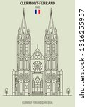 clermont ferrand cathedral ... | Shutterstock .eps vector #1316255957