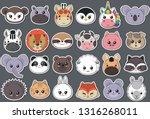Stock vector vector collection of cute animal faces big icon set for baby design koala cow giraffe penguin 1316268011