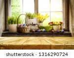 desk of free space and easter... | Shutterstock . vector #1316290724
