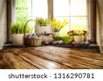 desk of free space and easter... | Shutterstock . vector #1316290781