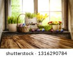 desk of free space and easter... | Shutterstock . vector #1316290784
