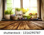 desk of free space and easter... | Shutterstock . vector #1316290787
