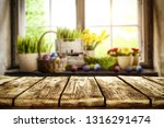 desk of free space and easter... | Shutterstock . vector #1316291474