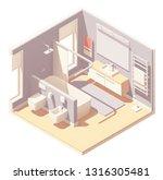 vector isometric bathroom... | Shutterstock .eps vector #1316305481