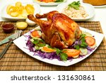 charcoal baked chicken and side ... | Shutterstock . vector #131630861