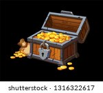 piratic trunk chests with gold... | Shutterstock .eps vector #1316322617