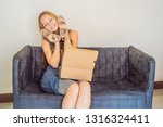 young woman received online... | Shutterstock . vector #1316324411