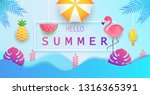 hello summer. colorful bright... | Shutterstock .eps vector #1316365391