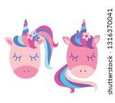 two cute unicorns | Shutterstock .eps vector #1316370041