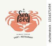 vector seafood banner or menu... | Shutterstock .eps vector #1316371454