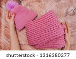 Warm Knitted Wool Cap With A...