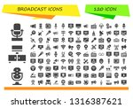 broadcast icon set. 120 filled... | Shutterstock .eps vector #1316387621