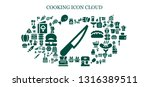 cooking icon set. 93 filled... | Shutterstock .eps vector #1316389511