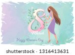 a beautiful lady holding the... | Shutterstock .eps vector #1316413631