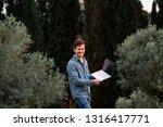man laugh in jeans suit...   Shutterstock . vector #1316417771