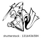 knight warrior in armor and... | Shutterstock .eps vector #1316436584