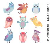 cute woodland owls. funny... | Shutterstock .eps vector #1316440544