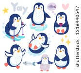 cute penguins skiing  having... | Shutterstock .eps vector #1316440547