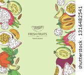 background with fruits pitaya ... | Shutterstock .eps vector #1316482541