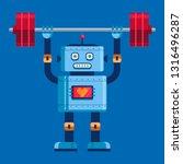cute robot raises the barbell...   Shutterstock .eps vector #1316496287