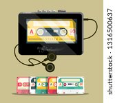 audio cassettess with walkman.... | Shutterstock .eps vector #1316500637