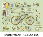 mountain bike info graphic elements, - stock vector