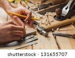 carpenter working hammer meter...