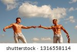 contesting the victory. strong... | Shutterstock . vector #1316558114