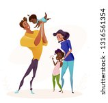 young happy family with adopted ... | Shutterstock .eps vector #1316561354