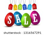 easter egg text sale. happy... | Shutterstock .eps vector #1316567291