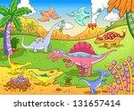 cute dinosaurs in prehistoric... | Shutterstock .eps vector #131657414