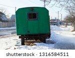 green old metal trailer booth...   Shutterstock . vector #1316584511