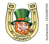 leprechaun face on golden horse ... | Shutterstock .eps vector #1316589254