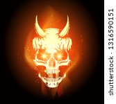 burning skull in hell flame on... | Shutterstock .eps vector #1316590151