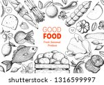 organic food illustration.... | Shutterstock .eps vector #1316599997