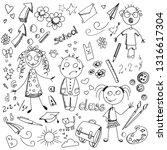 black chalk drawings on white... | Shutterstock .eps vector #1316617304