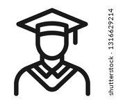 graduate in a cap icon. line... | Shutterstock .eps vector #1316629214