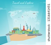 travel composition with famous... | Shutterstock .eps vector #1316641451