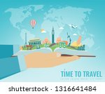 travel composition with famous... | Shutterstock .eps vector #1316641484