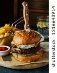 double beef burger with egg ... | Shutterstock . vector #1316643914