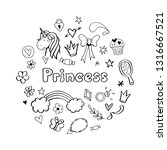 hand drawn set of fairy tale... | Shutterstock .eps vector #1316667521