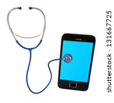 blue stethoscope with... | Shutterstock . vector #131667725