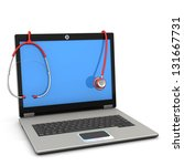 red stethoscope with laptop on... | Shutterstock . vector #131667731