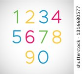 set of numbers. thin line style ... | Shutterstock .eps vector #1316680577
