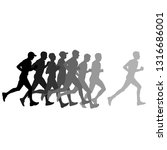 set of silhouettes. runners on... | Shutterstock . vector #1316686001