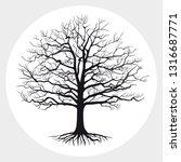 black silhouette of bare tree . ... | Shutterstock .eps vector #1316687771
