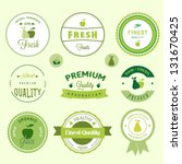 fruits labels set | Shutterstock .eps vector #131670425